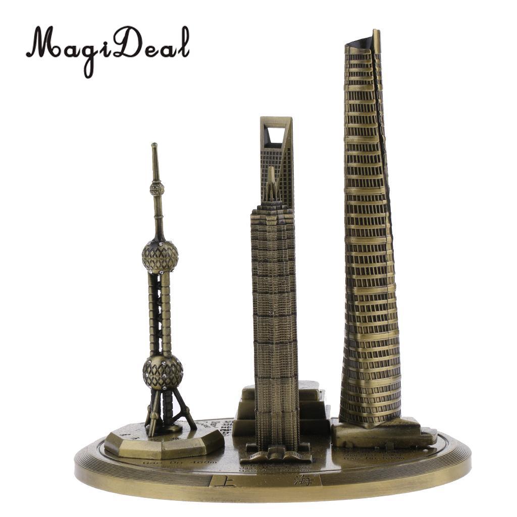 20 cm Renforcement Des Souvenirs En Métal Shanghai Horizons Bâtiments Modèle Décor de Bureau Cadeau