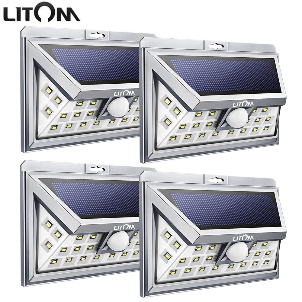 LITOM 24 LED Solar Lighting Nacht Lampion Superhellen Sicherheit  Wandstrahler Wasserdicht Garage Tür Hof Licht