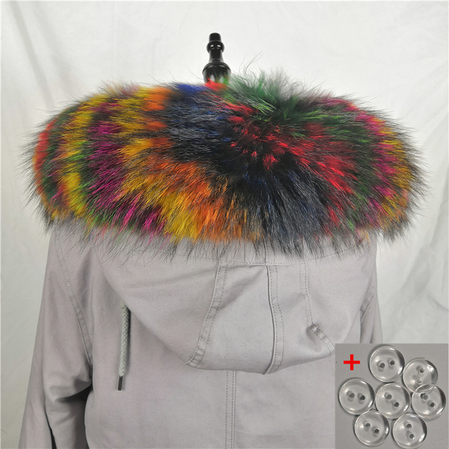 Lining 75cm 2018 Large Real Fur Trim Raccoon Collar Parka Hood Women Men Fashion Natural Scarf Hooks