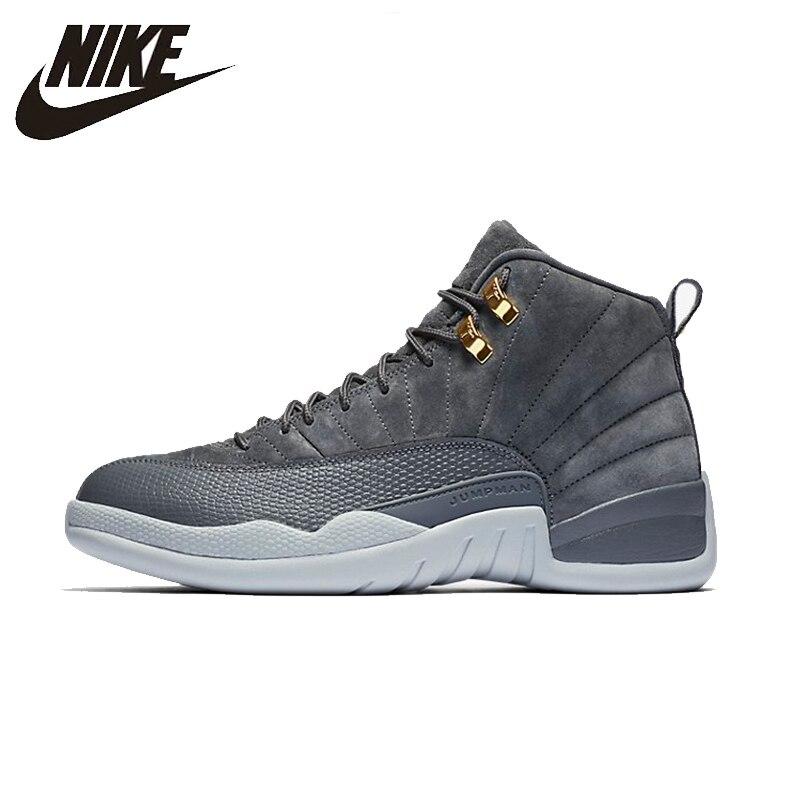 NIKE Air Jordan 12 темно-серый AJ12 оригинальный Для женщин s Баскетбольная обувь стабильность Высота Увеличение кроссовки для женская обувь ...