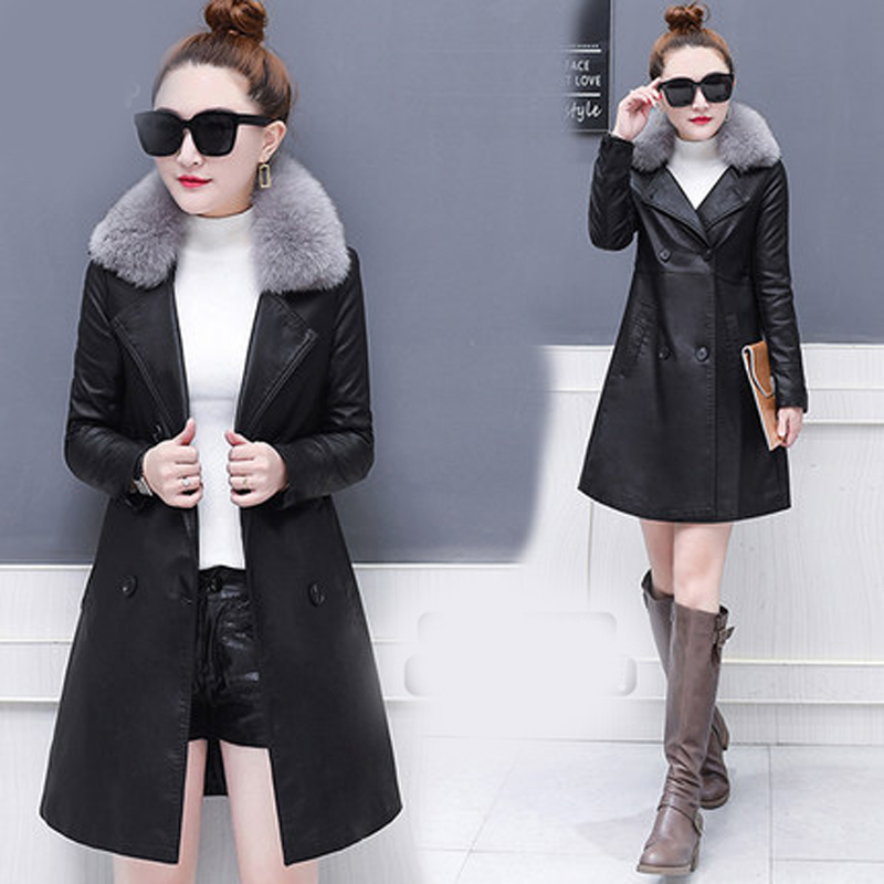 Fashion fur collar women's jacket new Korean version of the thick windbreaker in the long section pu   leather   coat JQ62