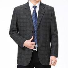 WAEOLSA Elegance Men Blazers Gray Coffee Plaid Grain Pattern Suits Jackets Male Garment Smart Casual Blazer Masculino Suit Coats