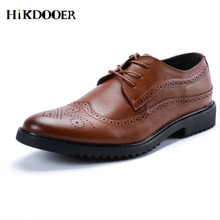New Arrival Man Flat Classic Men Dress Shoes Genuine Leather Poninted Toe Brogue Italian Formal Oxford