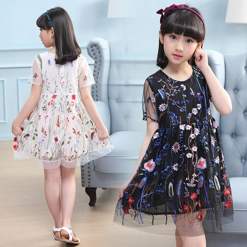Teller Embroidery Princess Dress Elegant Flower Girl Party Dress Evening Prom Dress Kids Dresses for Girls in Dresses from Mother Kids