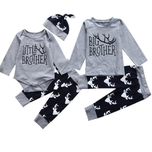 Hermano Grande Pantalones Leggings Ropa para Hermano peque/ña Camiseta de Manga Corta 3 Piezas de Ropa para beb/é Ciervo Estampado Hermano peque/ña Sombrero Brother Big Brother
