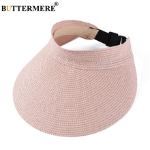 BUTTERMERE Visor Hat Women Spring Summer Sun Female Uv Protection Pink Cap Adjustable Ladies Straw Running Hats