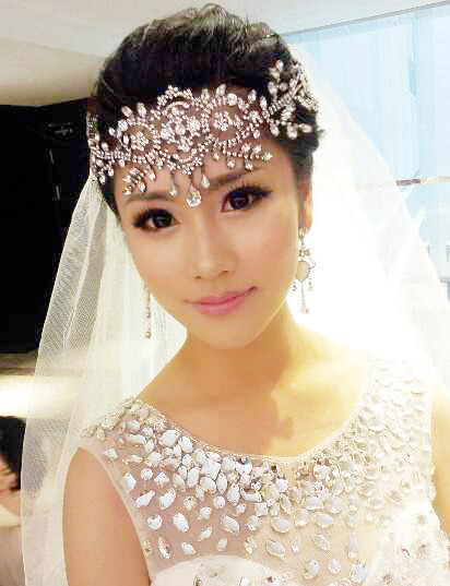Bride white crystal frontlet bride hair accessories ...
