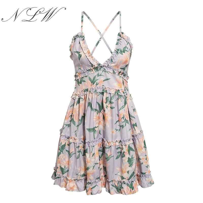 NLW imprimer Boho Floral robe courte femme été Sexy à volants dos nu Mini robe plage bohème robe d'été robe blanche Vestidos