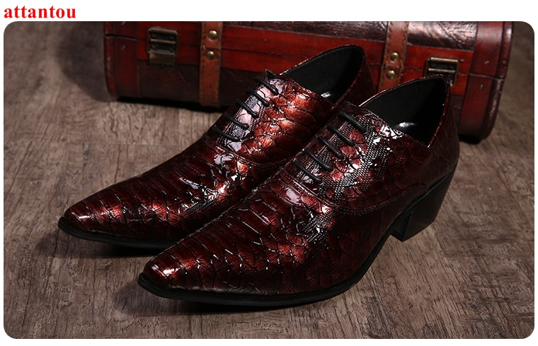Lace Up Men's Leather Shoes Red Snakeskin Single Shoes Pointed Toe Luxury Male Casual Shoe Slip-on Man Office Feast Formal Shoes hot sale blue snakeskin pointed toe men dress shoes lace up leather shoes luxury male casual shoes man office feast formal shoes