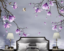 Beibehang Custom Mural HD hand painted magnolia bird Photo Wallpaper Living Room 3D Landscape Home Decor 3d wallpaper