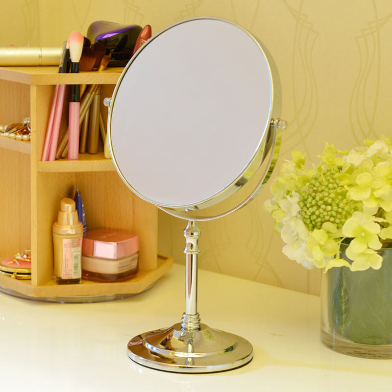 Silver Metal Frap New Arrival Makeup Mirror Professional Vanity Mirror Bathroom Accessories 8 Inch Free Magnifier Sj12 large 8 inch fashion high definition desktop makeup mirror 2 face metal bathroom mirror 3x magnifying round pin 360 rotating