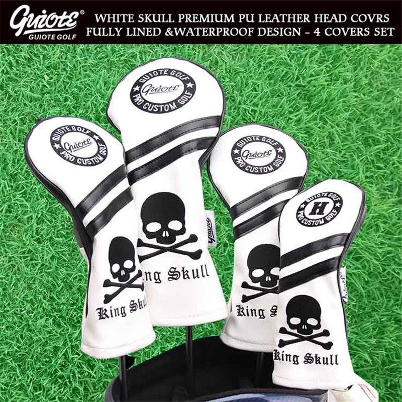 [2 Colors] KING SKULL & X-Bones Golf Woods Head Covers Driver Fairways Hybrid HeadCover Set Vintage Series 135H For Men Women