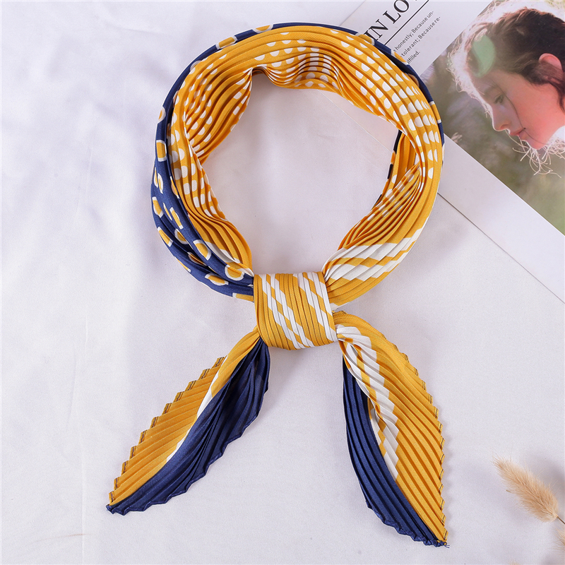 Square Crinkle Scarf Women Small Neck Scarfs Dot Print Pleated Female Hair Tie Foulard Scarves Lady Shawl