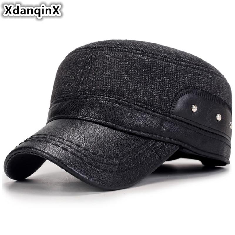 XdanqinX degli uomini Cappelli di Inverno del Cotone di Spessore Caldo  Esercito Militare Del Cappello Con Le Orecchie di Misura Adattabile  Berretto Piatto ... 4bbf6fb10a71