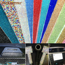 hot deal buy 24*40cm top grade 2mm round pointback hotfix rhinestone mesh sheet for garment shoes bags decoration locacrystal