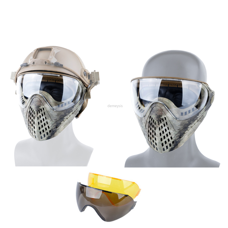 Outdoor Hunting Shooting Protective Mask Full Face Tactical Combat Masks CS Wargame Military Airsoft Paintball Mask 3 Lens