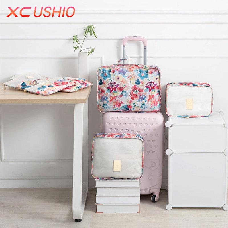 6pcs / set Floral Corak Travel Storage Bag Set Luggage Luggage - Organisasi dan penyimpanan di dalam rumah - Foto 5