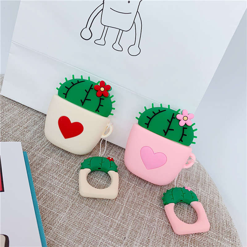 Cute Cactus Soft Case Earphone For Airpods i10 TWS Bluetooth Wireless Headphone Protective Cover For Air Pods 1 2 With Hang Rope in Earphone Accessories from Consumer Electronics