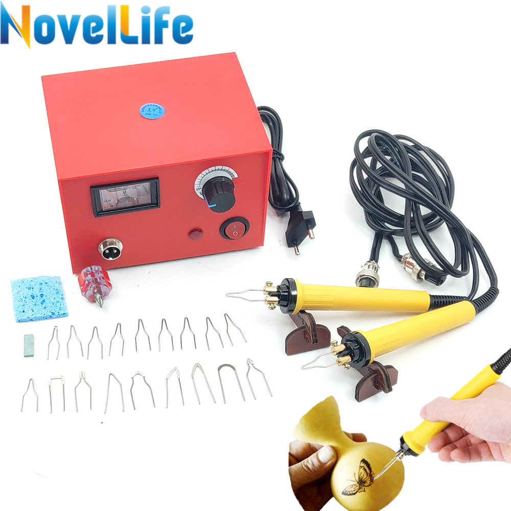 50W Wood Burner Pyrography Pen Burning Machine Gourd Crafts Tool Set With 20pcs Welding Wire Tip 2 Handle Adjustable Temperature(China)