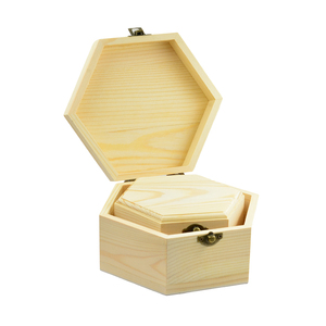 Image 2 - 3 pièces 3 tailles hexagone en bois montre boucles doreilles bijoux trésor boîte de rangement mémorial souvenir conteneur
