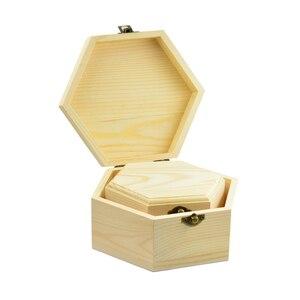 Image 2 - 3Pcs 3Sizes Hexagon Wooden Watch Earrings Jewelry Treasure Case Storage Box Memorial Keepsake Container
