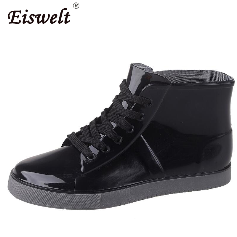EISWELT Women Rain Boots Female Ankle Boots Women Fashion Lace Up Casual Walking Outdoor Waterproof Rubber