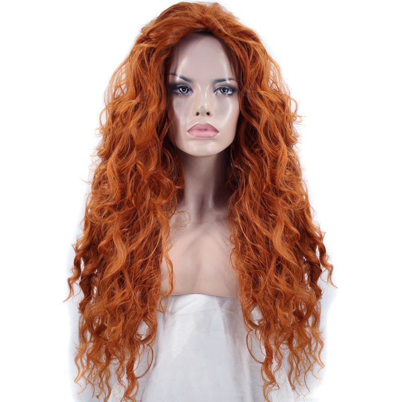 Ebingoo Cosplay Wig Hair-Cap Halloween-Costume Brave Princress-Merida Curly Orange Long