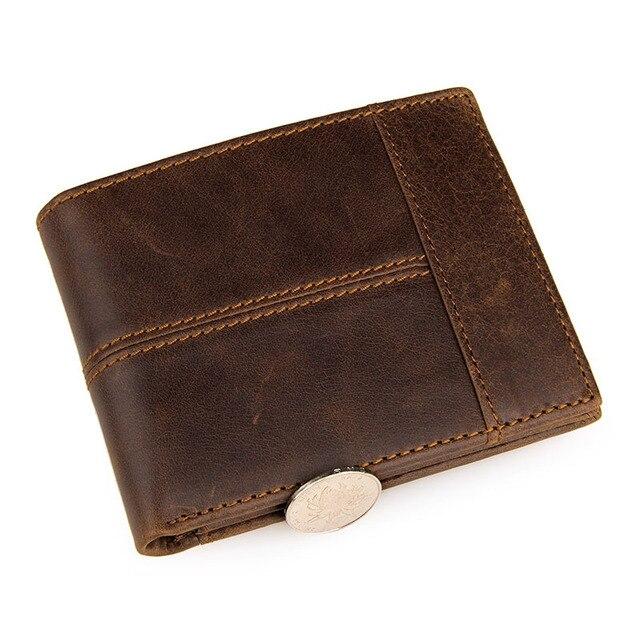 GENODERN Patchwork Style Cow Leather Male Purse Short Wallet for Men Genuine Leather Wallets Brown Male Purses Men Wallets 2