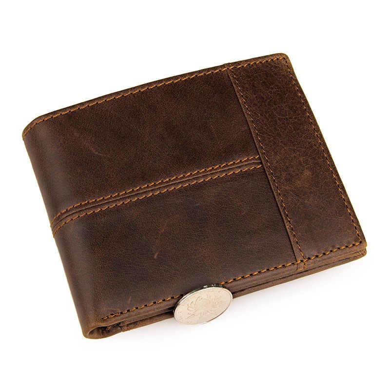 GENODERN лоскутное стиль из воловьей кожи, для мужчин короткий кошелек для мужчин из натуральной кожи кошельки коричневые мужские кошельки