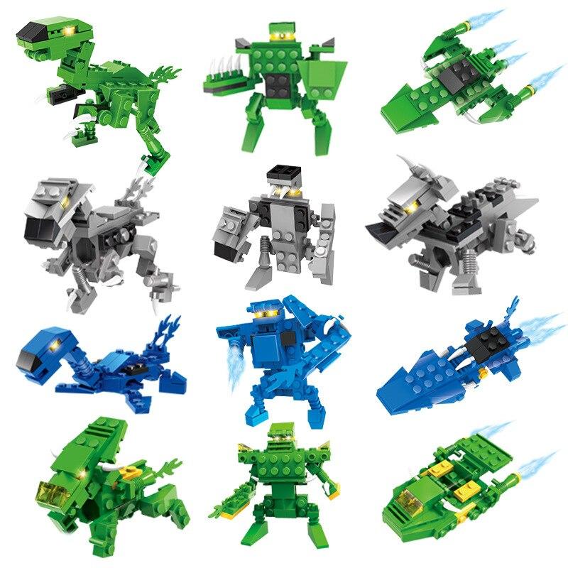 2018 building blocks assembling toys 6-7-8-10 years old boy educational toys Jurassic dinosaur warriors
