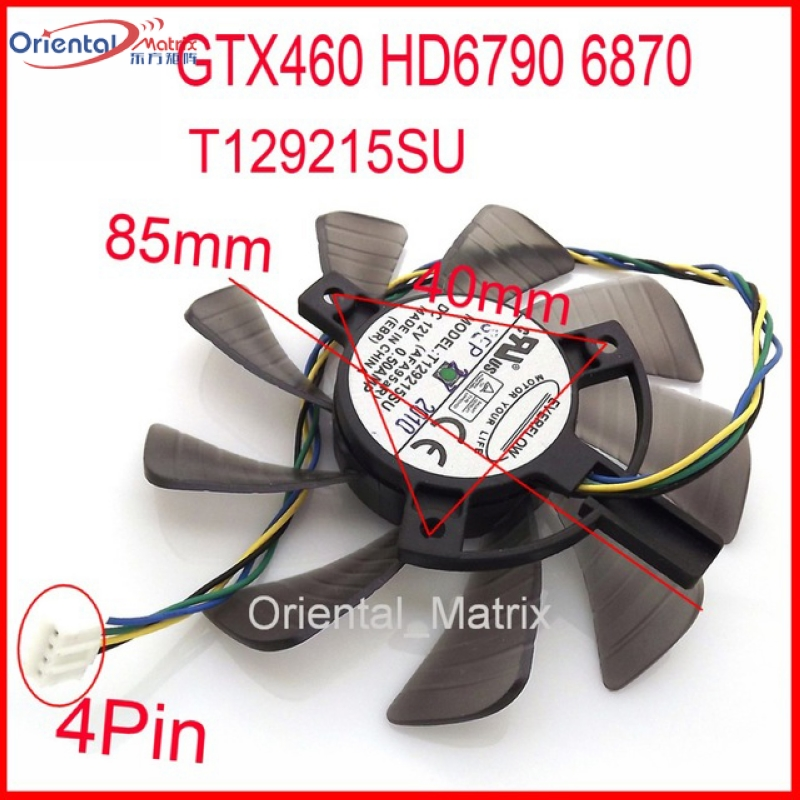 T129215SU 12 V 0.50A 85mm Pour ASUS HD6790 6870 GTX460 Carte Graphique Ventilateur 4Pin 4 Fil