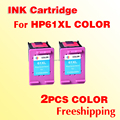 2pcs 61XL color INK cartridge compatible  for HP 61 for hp61 Deskjet 1050/2050/2050s+freeshipping+