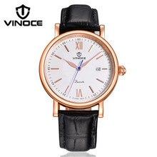 VINOCE original 2016 nuevos hombres de negocios reloj de cuarzo movimiento importado correa de cuero Del Relogio marca de lujo a prueba de agua 8388