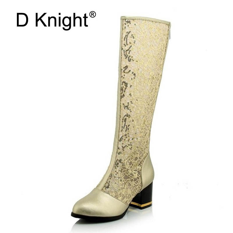New Fashion Round Toe Women Knee High Boots Thick Heels Zipper Sexy Cutout Mesh Boots Summer Cool Boots Gold Black Women's Shoes 2017 new european and american romantic pop black magazine cool shoes sexy fashion hollow women boots fashion summer boots
