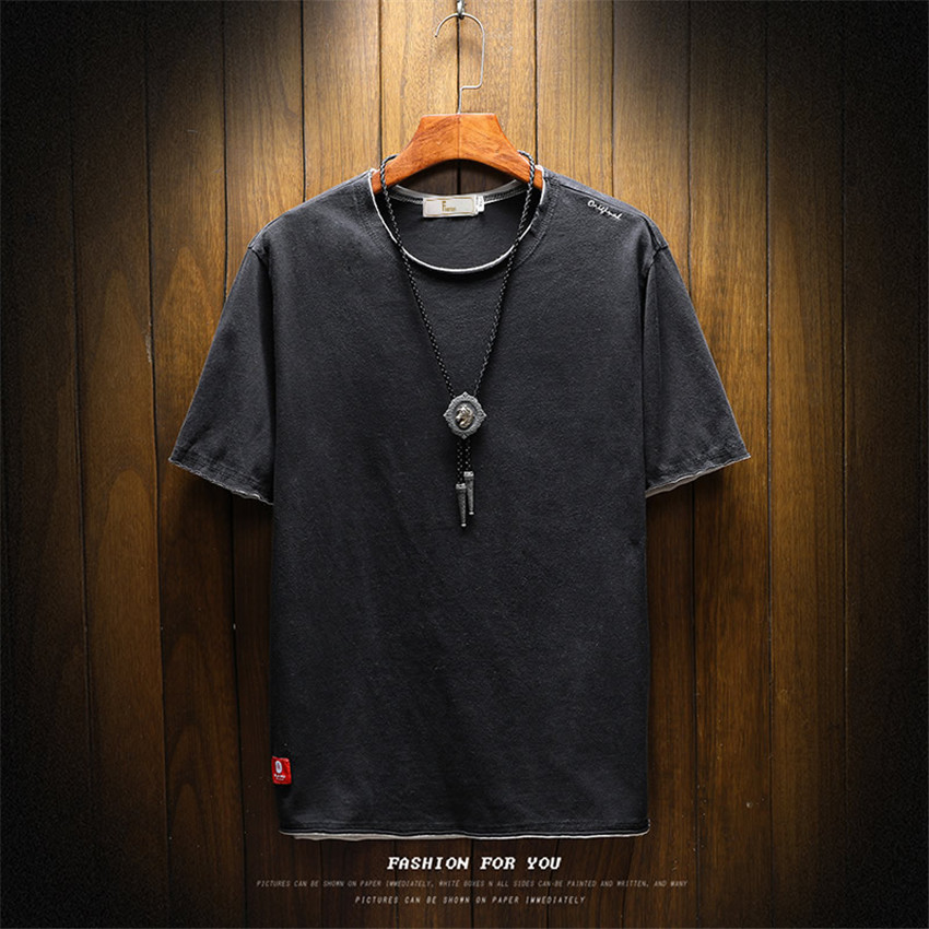 2018 Summer New Mens Leisure Men   T  -  shirt   Round Neck Mens   T     shirt   Fashion Tide Brand Men Solid Color Short Sleeve Tshirt Men