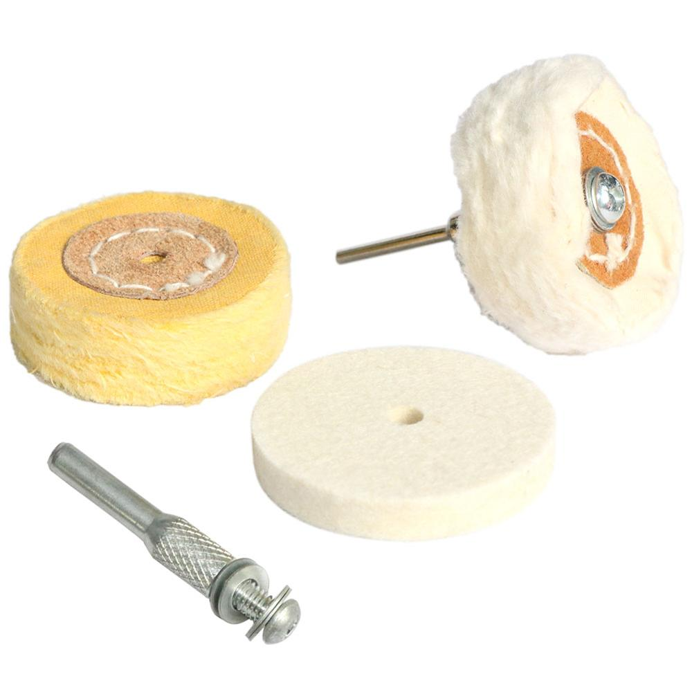 1 pc 2 polegada 50mm algodão pano cabeça de moagem lã feltro roda lustrando branco espelho amarelo polimento haste 3/6mm para broca dremel