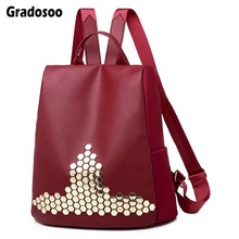 Gradosoo Rivet Backpack Women Anti-theft Schoolbag Female Bags For Travel Shoulder LBF596