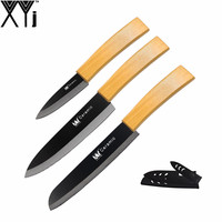 3 Pcs Set Ceramic Knife XYJ Brand Bamboo Curved Handle 3 6 6 Kitchen Knife Top