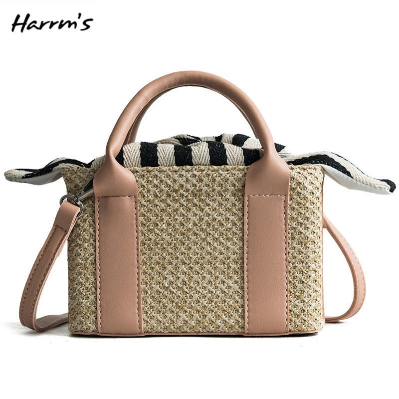 2018 New 5 Color Straw Bags Women Summer Rattan Bag Handmade Woven Beach Bag Bohemia Handbag Shoulder Large Capacity Bags Gift