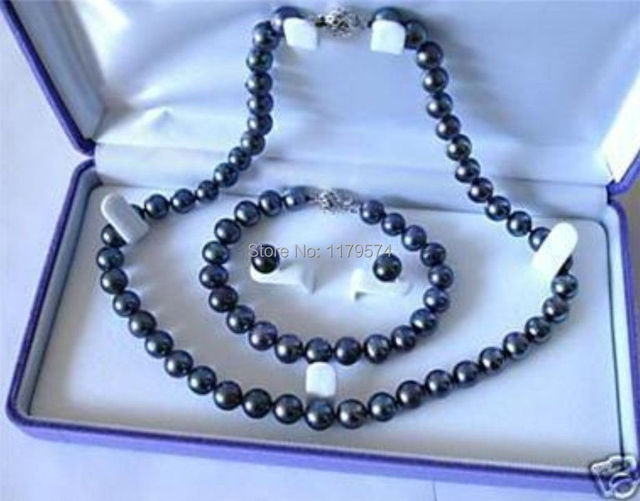 7-8mm Black Akoya Cultured wholesale jewelry Pearl Hot fascinating new free shipping of Necklace Bracelet Earring Set  W0343