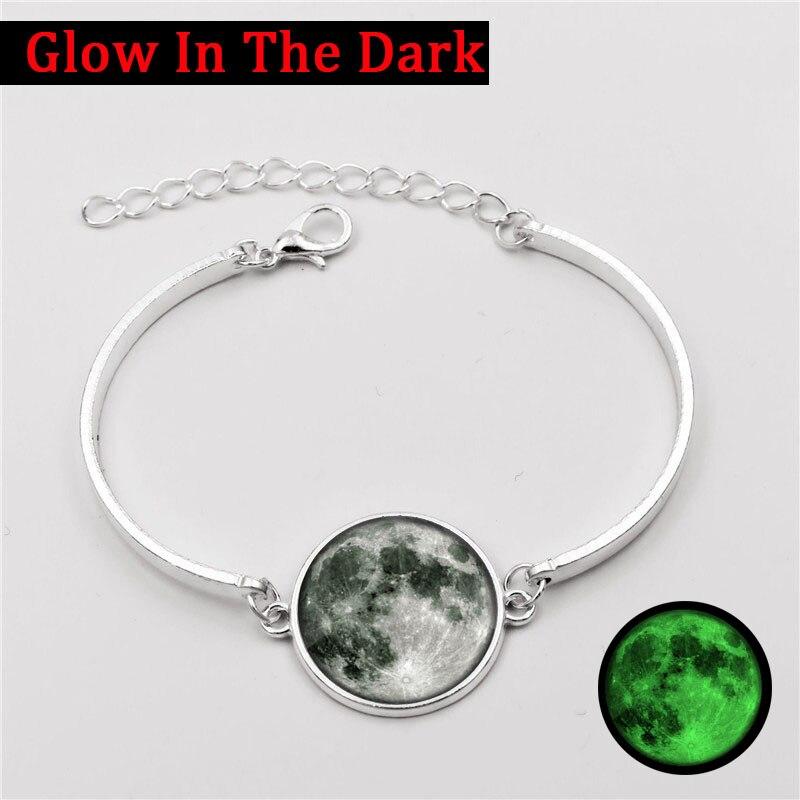 Fashion Jewelry Glow Moon Charm Bracelet Galaxy Planet Glass Cabochon Glow In The Dark Silver Cuff Bangle Bracelets for Women