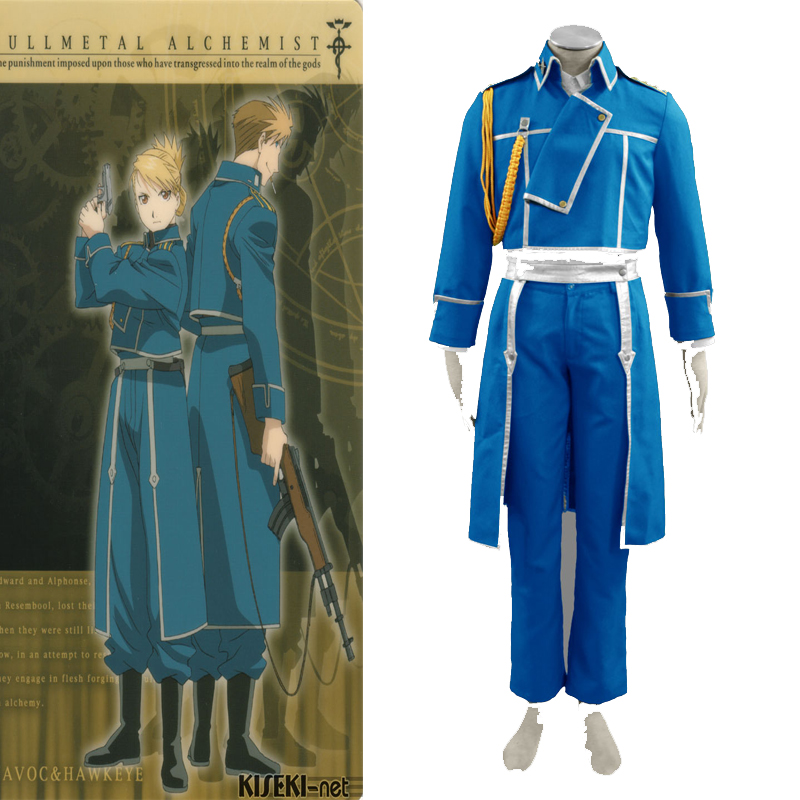 Classic Fullmetal Alchemist Roy Mustang Cosplay Costumes Military Uniform Suit Free Shiping