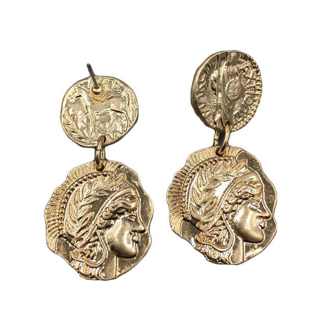 Retro Queen Engraved Coin Drop Earrings Gold Filled Figure Face Medal Party Long Women Earrings Classic Round Jewelry T