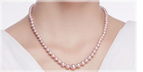 """Free Shipping >>>>> gorgeous AAA9-10mm south sea round Lavender pearl necklace 18""""925s"""