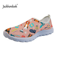 Jackherelook Summer Flats Shoes Woman Vivid 3D Veterinarian Prints Women's Fashion Casual Sneakers Women Breathable Mesh Zapatos