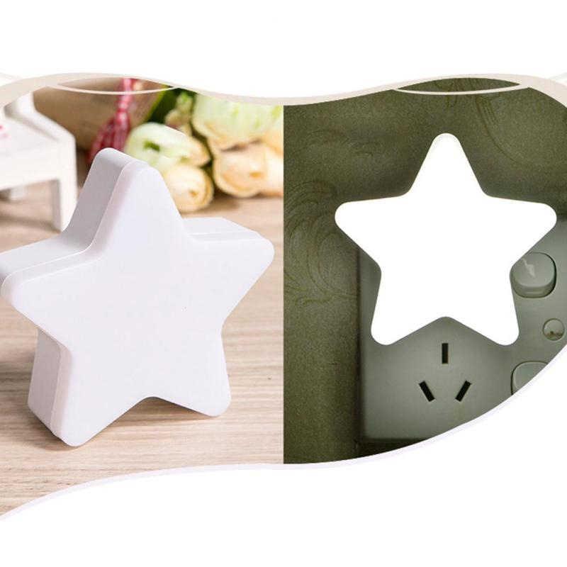 LED led de contrôle de capteur de lumière de nuit enfichable ue prise américaine LED veilleuses lampe en forme de pentagramme prendre soin des enfants