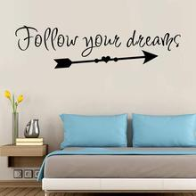 Home Decor Motto Wall Stickers Follow Your Dreams Living Room Bedroom Mural Decal Art
