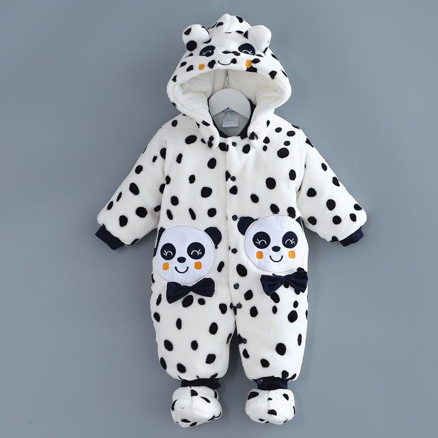 2016 nuevo panda niños mamelucos del bebé caliente del mono ropa de invierno espesar niña sobretodo Marca bebe bebé conjuntos