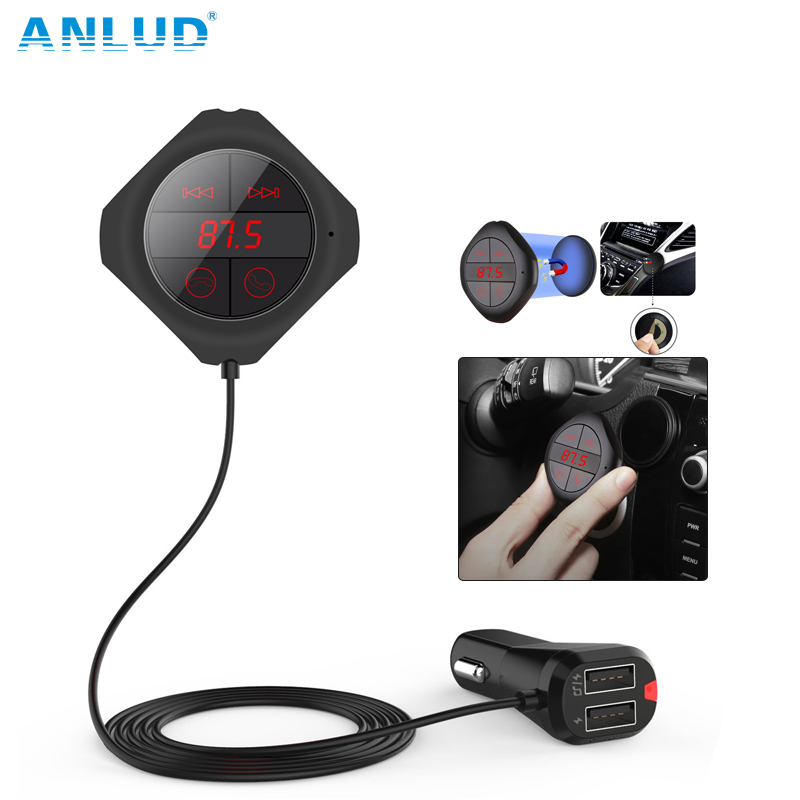 ANLUD Bluetooth Car Kit FM-Modulator Wireless Magnetischen Aufkleber Dual USB Lade FM Transmitter Bluetooth Auto Mp3-player