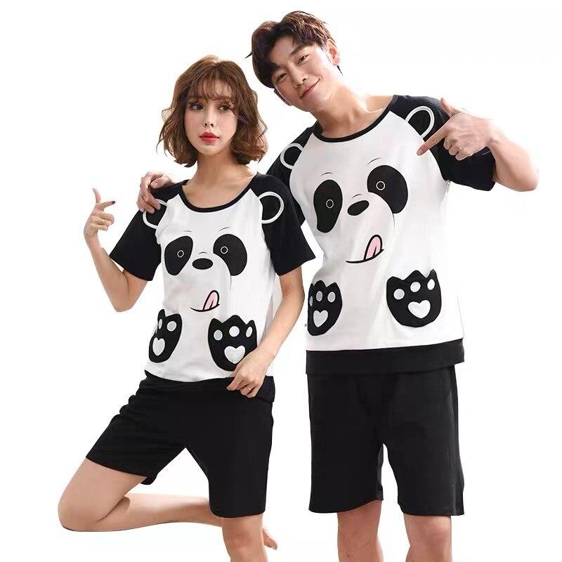 New Summer Cotton Pajama Sets Couple Shorts Sleeve Male Sleepwear Round Neck Women Pajamas Pijama Pyjamas Men's Pajamas Homewear